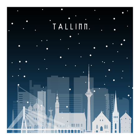 Winter night in Tallinn. Night city in flat style for banner, poster, illustration, game, background. Illustration