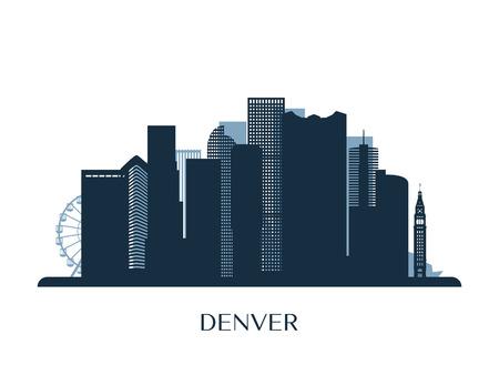 Denver skyline, monochrome silhouette Vector illustration. Vettoriali