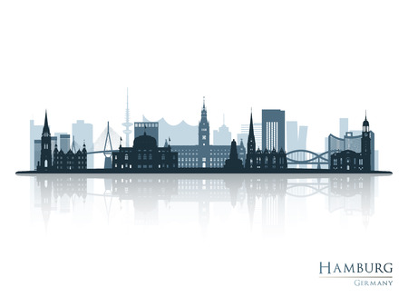 Hamburg skyline silhouette with reflection Vector illustration.