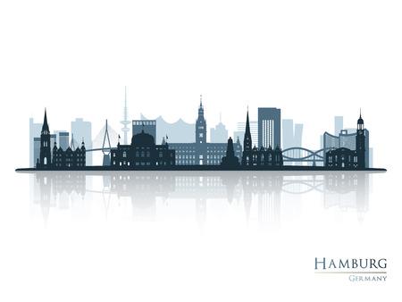 Hamburg skyline silhouette with reflection Vector illustration.