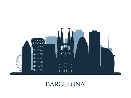 Barcelona skyline, monochrome silhouette Vector illustration. Çizim