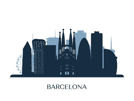 Orizzonte di Barcellona, ??silhouette in bianco e nero Illustrazione vettoriale.