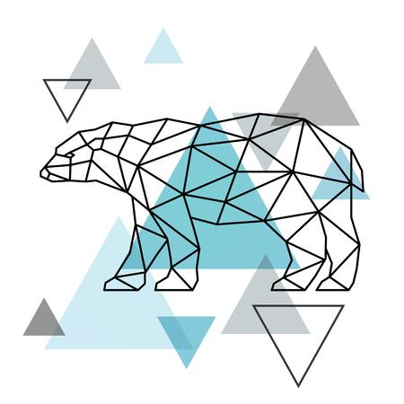 Geometrical silhouette of a polar bear. Scandinavian style. Vector illustration.