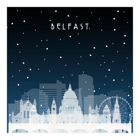 Winter night in Belfast. Night city in flat style for banner, poster, illustration, game, background.