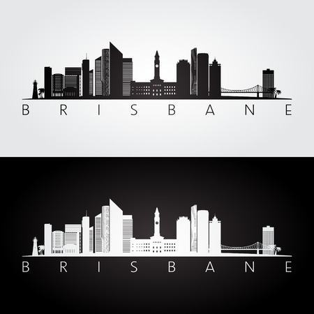 Brisbane skyline and landmarks silhouette, black and white design, vector illustration.
