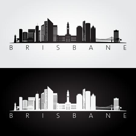 Brisbane skyline and landmarks silhouette, black and white design, vector illustration.
