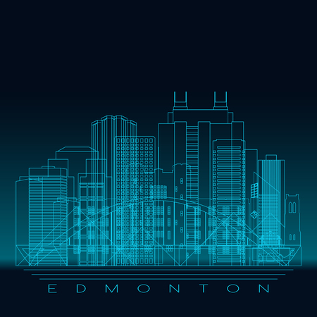 Edmonton skyline, detailed silhouette. Modern vector illustration, blue linear style.