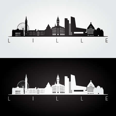 Lille skyline and landmarks silhouette, black and white design, vector illustration. Çizim