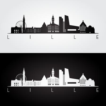 Lille skyline and landmarks silhouette, black and white design, vector illustration. Illustration