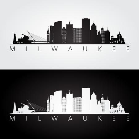 Milwaukee usa skyline and landmarks silhouette, black and white design, vector illustration.