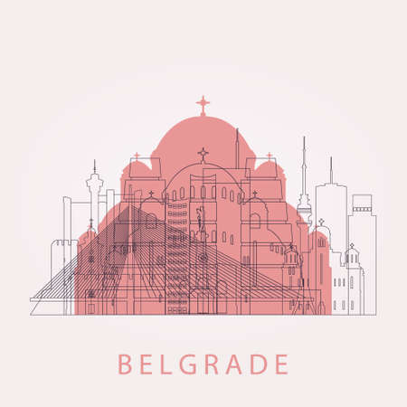 Outline Belgrade skyline with landmarks. Vector illustration. Business travel and tourism concept with historic buildings. Image for presentation, banner, placard and web site. Illustration