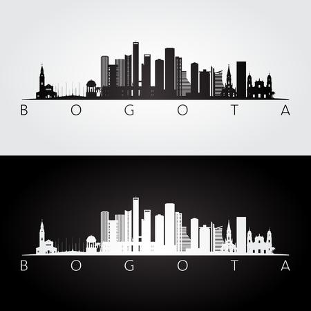 Bogota skyline and landmarks silhouette, black and white design vector illustration.