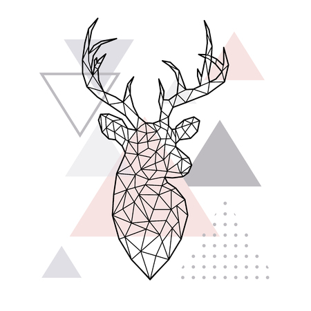 Abstract geometric head of a forest deer. Scandinavian style. Vector illustration. Banco de Imagens - 89035468