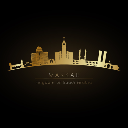 Golden logo of Makkah skyline. Vector silhouette illustration