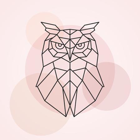 フクロウの幾何学的な頭は。野生の鳥の抽象的なベクトル イラスト。