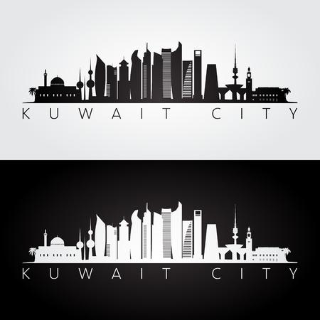 Kuwait city skyline and landmarks silhouette, black and white design, vector illustration.