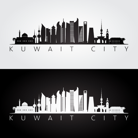 Kuwait city skyline and landmarks silhouette, black and white design, vector illustration.