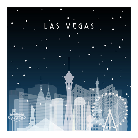 Winter night in Las Vegas. Night city in flat style for banner, poster, illustration, game, background.