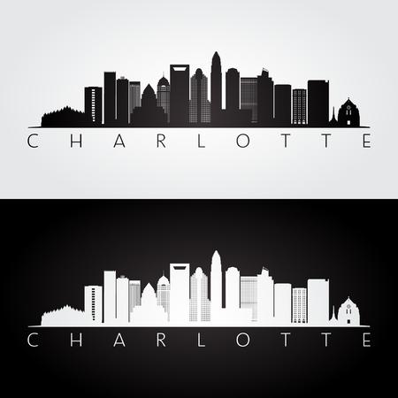 シャーロット米国スカイラインとランドマーク シルエット、黒と白のデザイン、ベクトル イラストです。