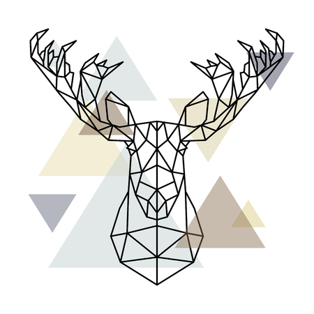 Tête d'orignal, silhouette de lignes géométriques isolée sur fond scandinave. Style polygonal. Style scandinave.