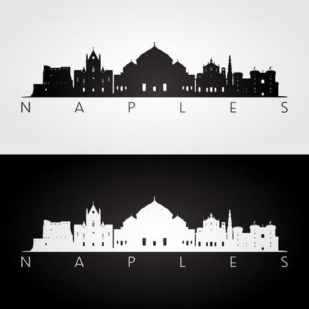 ナポリのスカイラインとランドマークのシルエット、黒と白のデザイン、ベクトル イラストです。  イラスト・ベクター素材