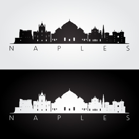 Naples skyline and landmarks silhouette, black and white design, vector illustration. Illustration