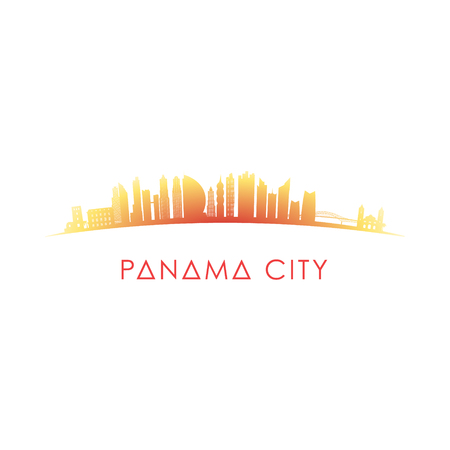 Panama City skyline silhouette. Vector design colorful illustration.