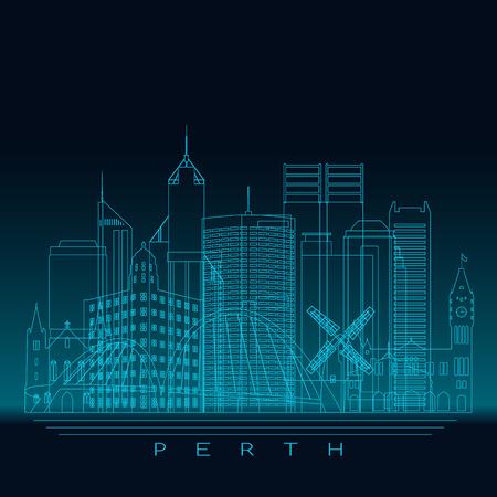 Perth skyline, detailed silhouette. Modern vector illustration, blue linear style.