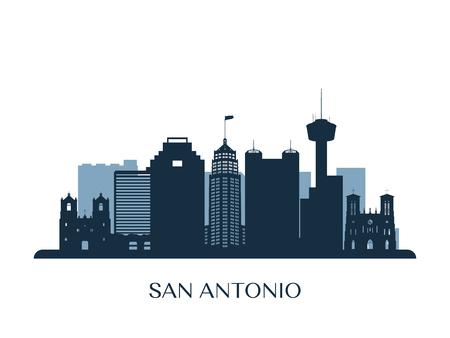 San Antonio skyline, monochrome silhouette. Vector illustration.