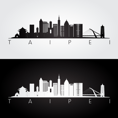 De horizon van Taipeh en oriëntatiepuntensilhouet, zwart-wit ontwerp, vectorillustratie. Stock Illustratie
