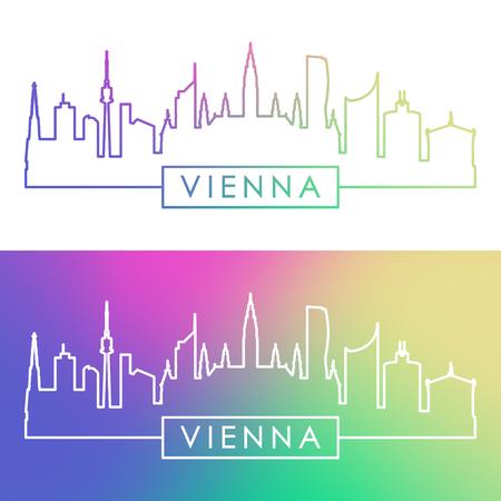 Vienna skyline. Colorful linear style. Editable vector file.
