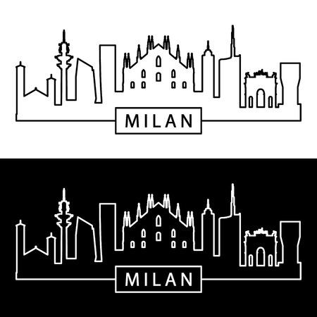 Skyline van Milaan. Lineaire stijl. Bewerkbare vectorbestand. Stockfoto