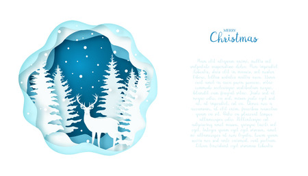 Greeting card with a Scandinavian deer in the forest. Paper art. Merry Christmas. Vectores