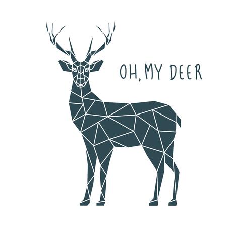 Oh my deer, vector illustration. Scandinavian deer side view. Ilustracja