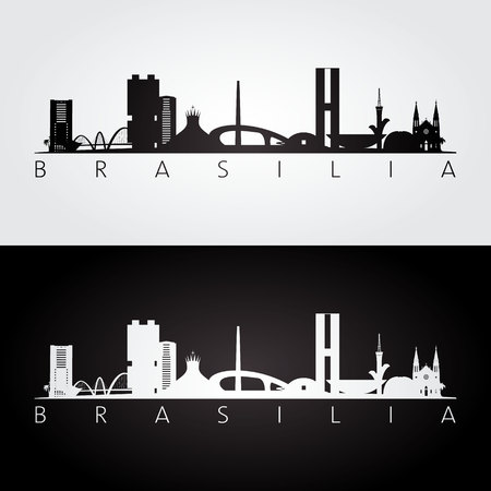 Brasilia skyline and landmarks silhouette, black and white design, vector illustration.