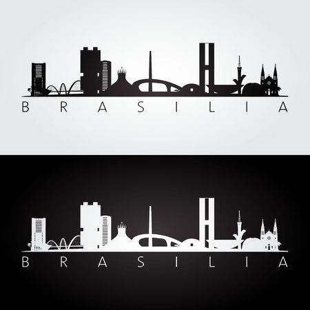 Brasilia skyline and landmarks silhouette, black and white design, vector illustration.