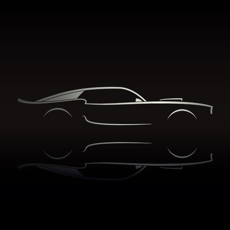 Muscle car silhouette on black background with reflection. Vector illustration.