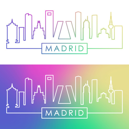 Madrid skyline in colorful linear style illustration.