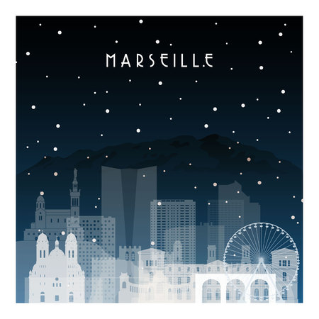 Winter night in Marseille. Night city in flat style for banner, poster, illustration, game, background. Illustration