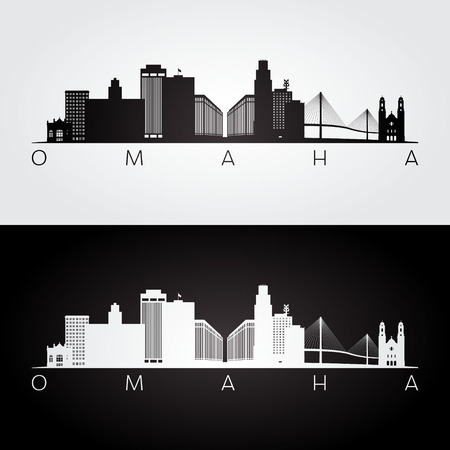 Omaha usa skyline and landmarks silhouette, black and white design, vector illustration.