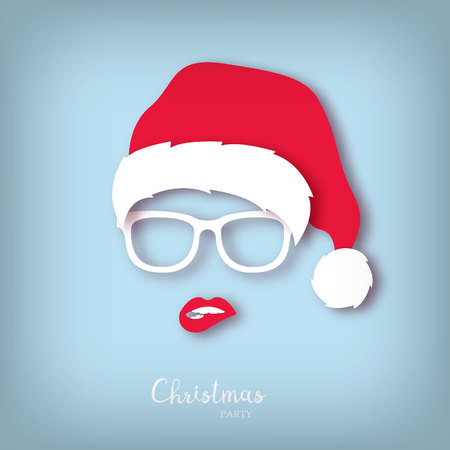 Girl Santa with red lips. Paper art style. Christmas party.