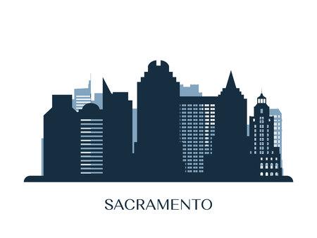 Sacramento skyline, monochrome silhouette. Vector illustration. Illustration