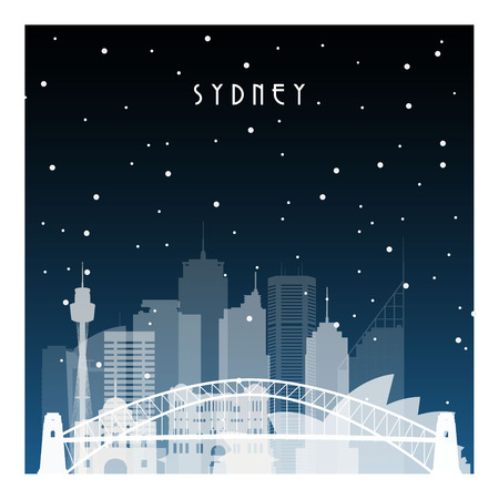 Winter night in Sydney. Night city in flat style for banner, poster, illustration, game, background.
