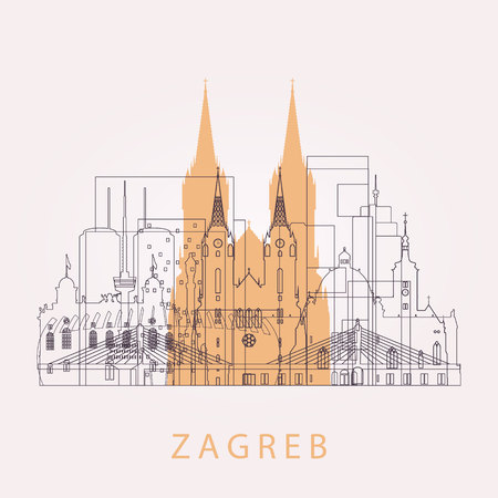 Outline Zagreb skyline with landmarks. Vector illustration. Business travel and tourism concept with historic buildings. Image for presentation, banner, placard and web site.
