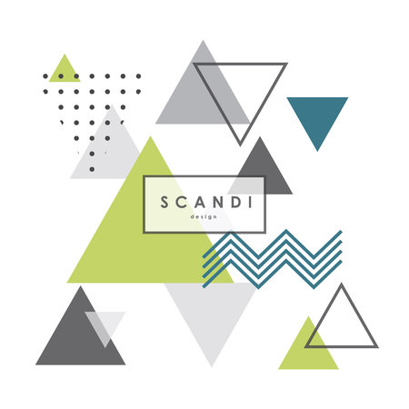 Abstract geometric scandinavian pattern. Modern and stylish scandi poster, cover, card design.