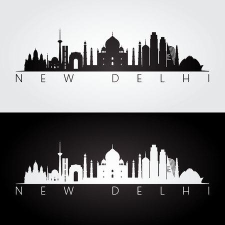 ニューデリーのスカイラインとランドマークのシルエット、黒と白のデザイン、ベクトル イラストです。