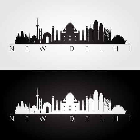 New Delhi skyline and landmarks silhouette, black and white design, vector illustration.