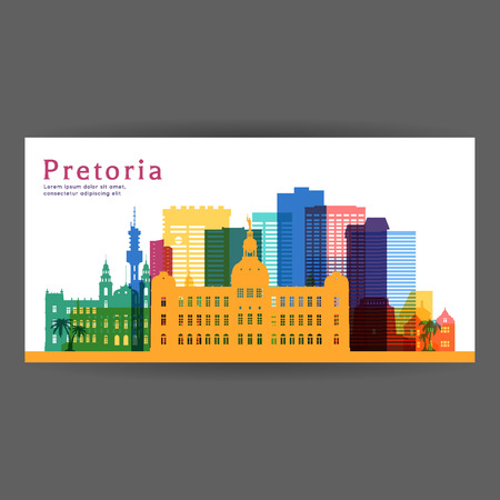 Pretoria colorful architecture vector illustration, skyline city silhouette, skyscraper, flat design.