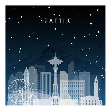 シアトルの冬の夜。バナー、ポスター、イラスト、背景のフラット スタイルで夜の街。