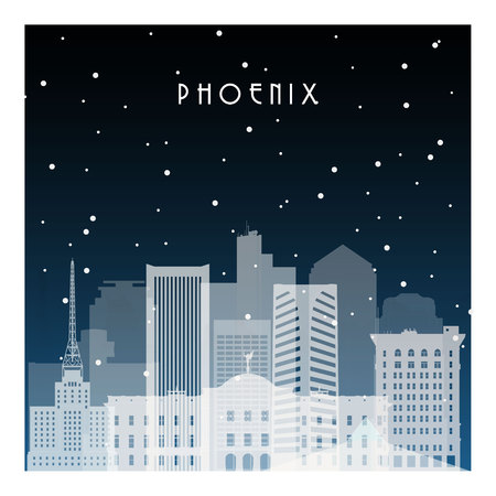 Winter night in Pheonix. Night city in flat style for banner, poster, illustration, background.